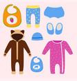 baby clothes icon set design textile casual vector image