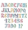set of cute colored letters and numbers with 3d vector image