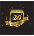 20th anniversary gold ribbon black background vect vector image