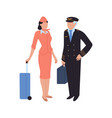 aircrew pilot and flight attendant woman and man vector image vector image