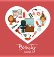 beauty salon promotional poster with equipment for vector image vector image