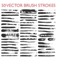 big set 50 grungy artistic brushes vector image
