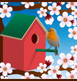 bird near birdhouse blossoming spring tree vector image