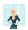 Blond business woman smiling character vector image
