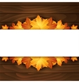 Border of autumn maples leaves on a wooden vector image vector image
