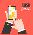 business hand holding smart phone and get cash vector image vector image