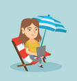 business woman working on a laptop on the beach vector image vector image