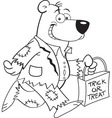 Cartoon bear trick or treating vector image vector image