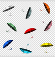 colored umbrellas on transparent background vector image