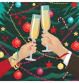 Couple clink glasses near Christmas tree indoors vector image vector image