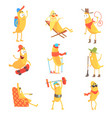 cute happy humanized bananas in different actions vector image vector image