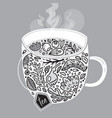 decorative herbal tea in the cup vector image
