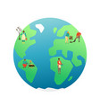 earth day card people grow plants on planet vector image