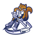 fox ice hockey mascot vector image