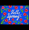 Fresh blue Hello Spring background with flowing vector image