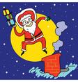 funny santa jump over chimney under moonlight vector image