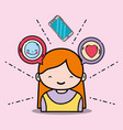 girl with emoji and chat bubble message vector image