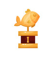 golden fish award fishing trophy statuette vector image vector image