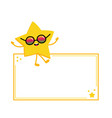 golden star character sitting on empty board vector image vector image