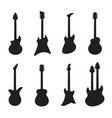 guitar silhouettes black acoustic and electric vector image