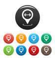 gym map pointer icons set simple vector image vector image