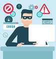 hacker in flat style vector image