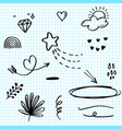 hand drawn set elements black on paper vector image vector image