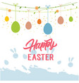 happy easter hanging eggs white background vector image