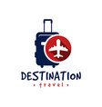 holiday travel transport suitcase logo vector image vector image