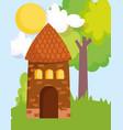 house tree grass sun clouds farm cartoon vector image