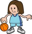 Illustration of girl playing basketball vector image