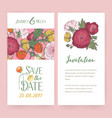 invitation cards with ranunculus flowers vector image