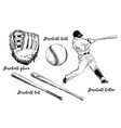 isolated baseball set on white background hand vector image