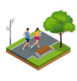 isometric young woman and man runners running on a vector image vector image