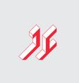 jc - logo or 2-letter code isometric 3d font vector image vector image