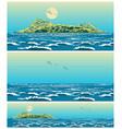 landscape open sea with island retro vector image vector image