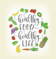 lettering with hand drawn fruits vector image