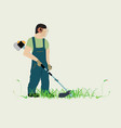man and lawn mower vector image