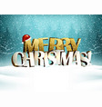 merry christmas inscription is in the winter snowy vector image