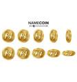namecoin 3d gold coins set realistic flip vector image