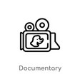 outline documentary icon isolated black simple vector image vector image