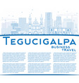 outline tegucigalpa skyline with blue buildings vector image vector image