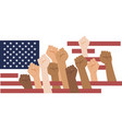 protesters hands over usa flag multiracial vector image vector image