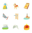 rural icons set cartoon style vector image vector image