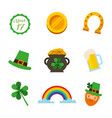 saint patricks day celebration party icons symbol vector image