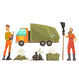 sanitation workers gathering garbage and waste for vector image vector image