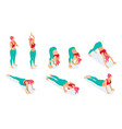 set isometric yoga poses stretch fitness gym vector image vector image