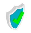 Shield with check mark icon isometric 3d style vector image vector image