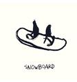 snowboard hand drawn vector image