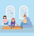 stay at home group women coffee in living vector image